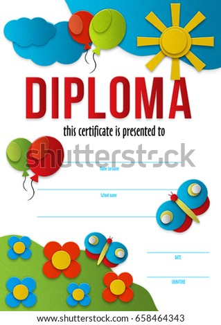 diploma template kindergarten kid design preschool certificate to congratulate a child for graduating - Preschool Certificate Template