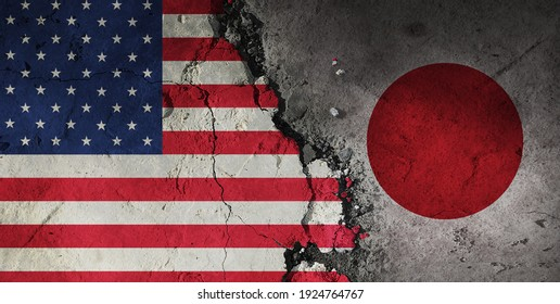 diplomatic relations between The U.S. and Japan. Flag of the two countries.