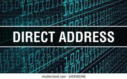 Direct address concept illustration using code for developing programs and app. Direct address website code with colourful tags in browser view on dark background. Direct address on binary computer