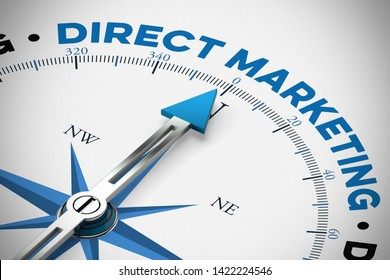 Direct marketing / self-marketing as a goal on a compass (3d rendering)