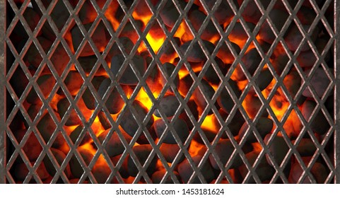 A direct top view of burning hot coal in a barbecue stand covered by diamond patterned iron grill - 3D render