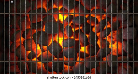 A direct top view of burning hot coal in a barbecue stand covered by a regular iron bar grill - 3D render