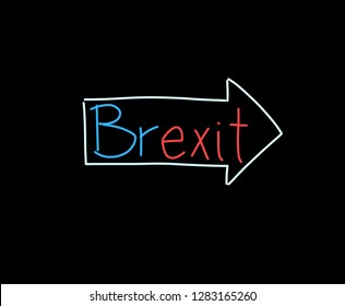 Direction arrow on the brexit handwriting, illustration on black background.