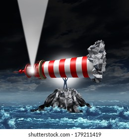 Direction leadership business concept as a strong businessman lifting up a lighthouse and pointing the light up as a metaphor for illuminating a path to growth and success with strategic vision.