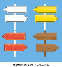 direction sign. Different arrow sign. Design elements for marketing, advertising, promotion, branding and media. Flat cartoon illustration. Objects isolated on a white background.