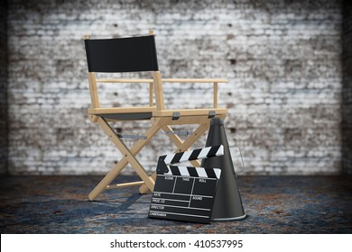 Director Chair, Movie Clapper and Megaphone on a grunge background. 3d Rendering