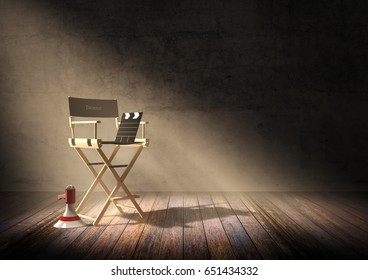 Director's chair with clapper board and megaphone in dark room scene with spotlight light, 3D rendering