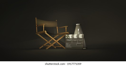 Directors movies concept with a chair, a clapperboard and vintage megaphone. A 3D rendering symbol of movies, with dark black background