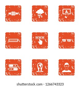 Directory icons set. Grunge set of 9 directory icons for web isolated on white background