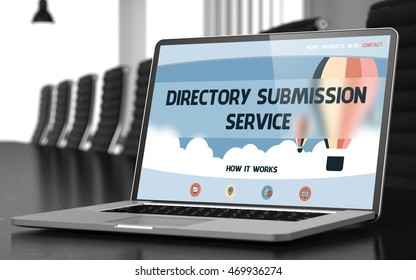 Directory Submission Service Concept. Closeup of Landing Page on Mobile Computer Screen in Modern Meeting Hall. Toned Image with Selective Focus. 3D Rendering.