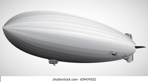 Dirigible balloon. Vintage Airship Zeppelin.