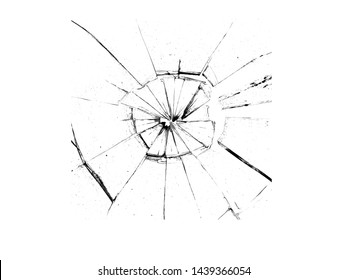 Dirk in the glass. Broken glass on a white background, texture background design object