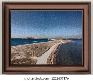dirt road and sea 'picture'