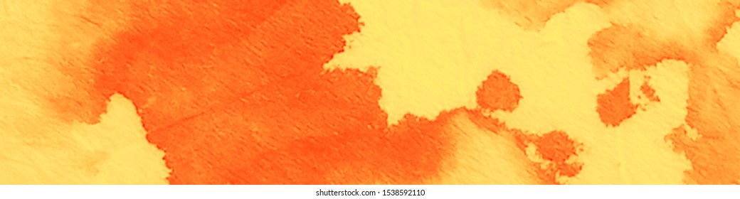 Dirty Art Pattern. Orange, Yellow Autumn Vibes. Vintage Drawn Texture. Dirty Art Banner. Shibori Dyeing. Watercolor Background. Tie Dye Design.