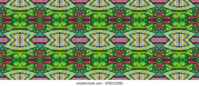 Dirty Art Picture. Azure, Burgundy and white. Reflecting print. Papirus Carpet style. Luxury Gouache paint. Bright print. Aztec pattern. Lime.