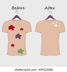 Dirty and clean t-shirt. Before cleaning and after cleaning t-shirt. Stained t-shirt. Different types of stains. Dry cleaning concept. Raster illustration.