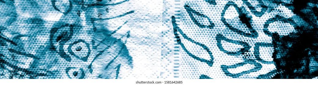 Dirty Decorative Print. Cloud Tie Dye. Aquamarine Dirty Decoration Illustration. Artist Painting Watercolor. Cloud Surf. Aquamarine Wash Fabric.