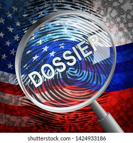 Dirty Dossier Magnifier Containing Political Information On The American President 3d Illustration. Investigation Data From Spying On Russia