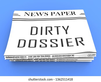 Dirty Dossier Newspaper Containing Political Information On The American President 3d Illustration. Investigation Data From Spying On Russia
