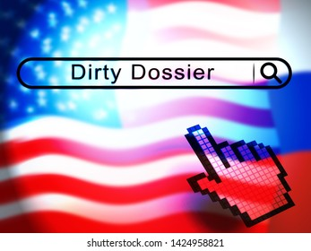 Dirty Dossier Search Containing Political Information On The American President 3d Illustration. Investigation Data From Spying On Russia