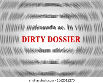 Dirty Dossier Word Containing Political Information On The American President 3d Illustration. Investigation Data From Spying On Russia