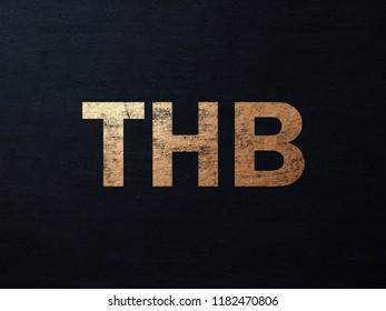 Dirty Golden Thailand Baht Money. THB Letters Write On The Dark Wall Background. Dirty Golden Thailand Baht Money THB Logo. 3D İllustration.