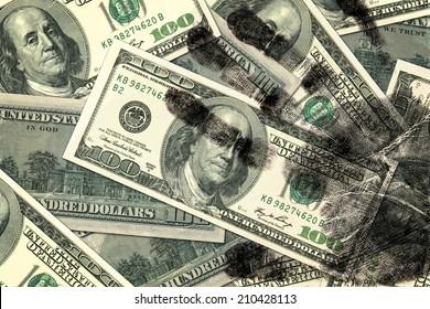Dirty hundred dollar bills background