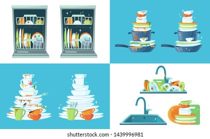 Dirty kitchen dish. Clean empty dishes, plates in dishwasher and dinnerware in sink. Washing up dish, dirty and clean restaurant plate or household kitchenware cartoon  illustration set