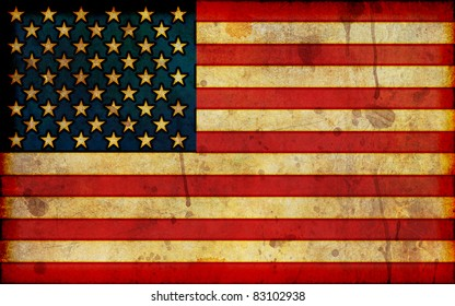 A dirty, stained flag of the United States in a grunge illustration style and in a wide-screen aspect ratio.