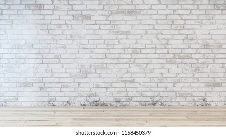 Dirty white brick wall inside room with beige hardwood floor and no people visible. Includes copy space.