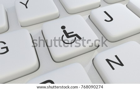 Disabilities Symbol On Keyboard 3 D Render Stock Illustration
