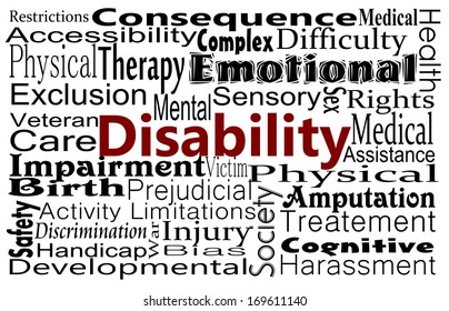 Disability or health care and medical message background with word collage
