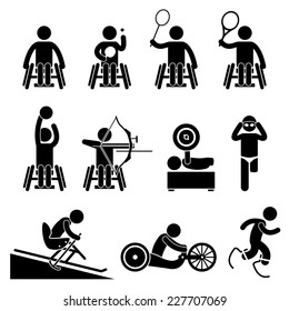 Disable Handicap Sports Stick Figure Pictogram Icons