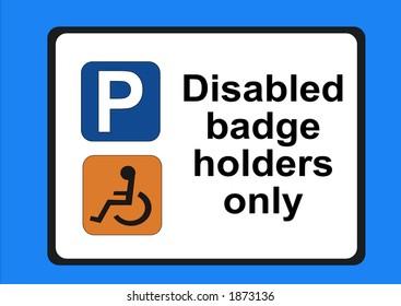 Disabled badge holders only illustration JPG