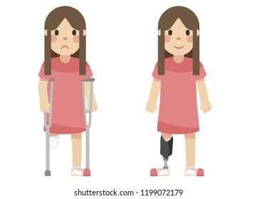 Disabled girl with a prosthetic leg and crutches, illustration