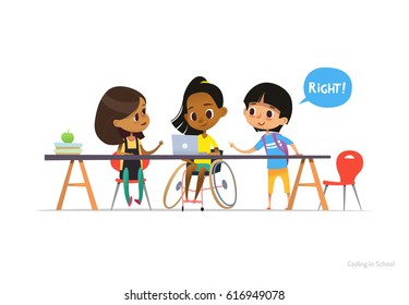 Disabled girl in wheelchair sitting at laptop with pair of school friends helping her to learn coding. Inclusive education concept. Illustration for website, advertisement, banner, poster.