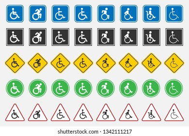 disabled handicap icons set