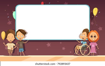 Disabled kids with white blank banner on dark background with decoration cartoon and retro design  illustration