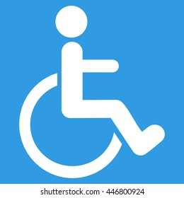 Disabled Person glyph icon. Style is flat icon symbol with rounded angles, white color, blue background.