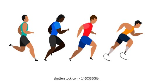 A disabled person is involved in running a marathon. Jogging men. Participants of athletics event trying to outrun each other.