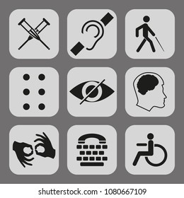 disabled signs with deaf, dumb, mute, blind, braille font, mental disease, low vision, wheelchair icons. Collection of mandatory signs for public places and web design