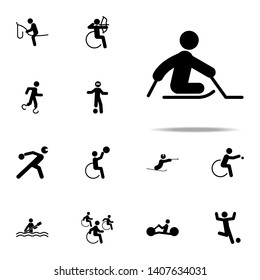 disabled sport ice sledge hockey icon. People in sport with disabilities icons. Universal set for web and mobile
