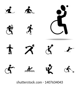 disabled sport tennis icon. People in sport with disabilities icons. Universal set for web and mobile