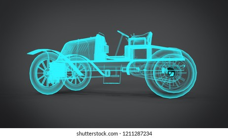 Disassembled x-ray Classic retro cars 3D rendering results from the blender application