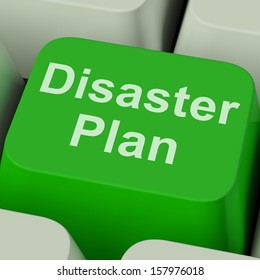 Disaster Plan Key Showing Emergency Crisis Protection And Preparedness In Preparation Or Risk Management.