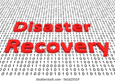 disaster recovery in the form of binary code, 3D illustration
