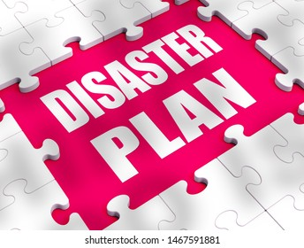 Disaster recovery plan concept mitigating risks and planning ahead. A scheme or strategy to avoid calamity - 3d illustration
