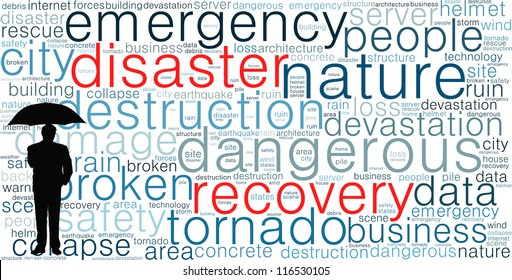 Disaster recovery word cloud for business and finance concept.