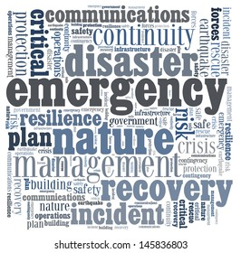 Disaster recovery word cloud for business and finance concept