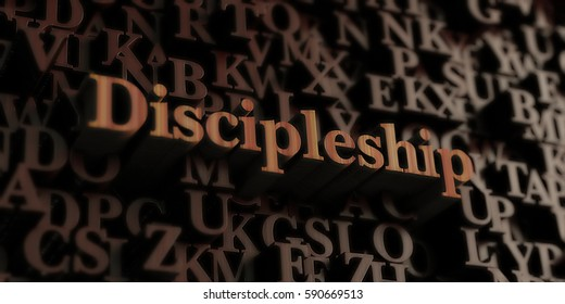 Discipleship - Wooden 3D rendered letters/message.  Can be used for an online banner ad or a print postcard.